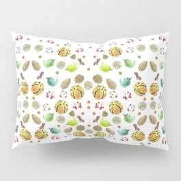 Christmas pattern. New Year decoration Adornment coniferous green with cones, balls, berries, citrus Pillow Sham