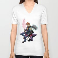 scott pilgrim V-neck T-shirts featuring Scott & Ramona by MarioRojas