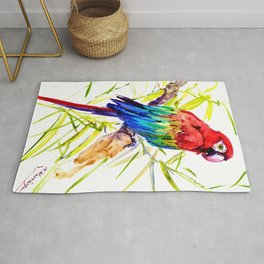 Parrot Scarlet Macaw, Tropical Birds, Jungle Red, Green Blue bright colored tropical artwork Rug