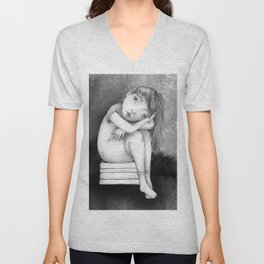 Sad Girl by Colleen Rowan Kosinski Unisex V-Neck