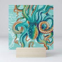 Teal Octopus On Light Teal Vintage Map Mini Art Print