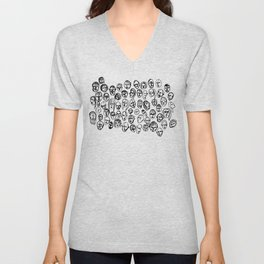 Black and White Line Drawing Faces Unisex V-Neck