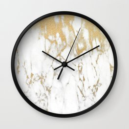 White Gold Marble Wall Clock