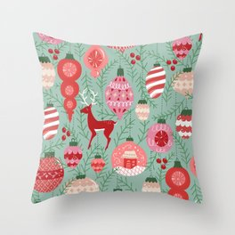 Mid-Century Ornaments in Red and Mint Throw Pillow