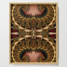 Baroque Feathers Red Serving Tray
