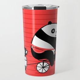 Cacti delivery. Panda on bicycle. Travel Mug