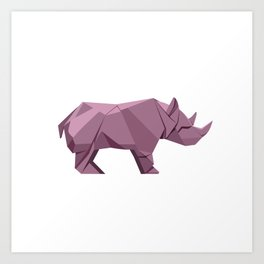 Origami Rhino Art Print