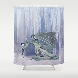 Awesome ice dragon with fairys Shower Curtain
