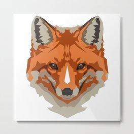 Red Geometric Fox Metal Print