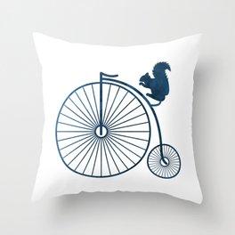 Squirrel on a high wheel Throw Pillow