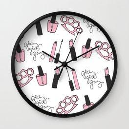 Girly Girl Gang Pattern Wall Clock