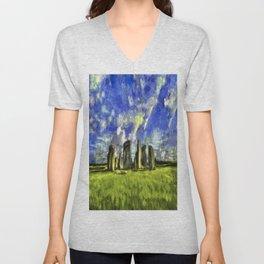 Stonehenge Vincent Van Gogh Unisex V-Neck