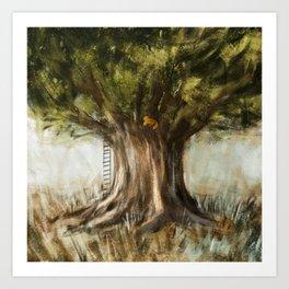 little fox on tree Art Print
