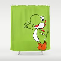 yoshi Shower Curtains featuring Yoshi Colour by carcar2110