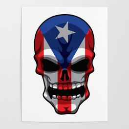 Puerto Rican Skull - Puerto Rico Pride Flag Poster