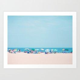 Colorful Umbrellas on the Beach Art Print
