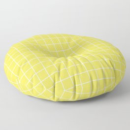 Minion yellow - yellow color - White Lines Grid Pattern Floor Pillow