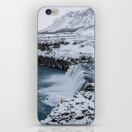 Waterfall in Icelandic highlands during winter with mountain - Landscape Photography iPhone Skin
