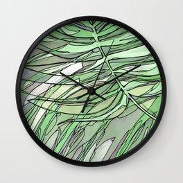 pale green palms Wall Clock