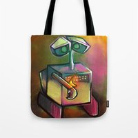 wall e Tote Bags featuring WALL-E by tidlin