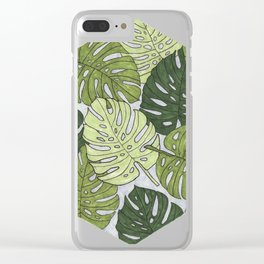 Monstera Hexagon Pattern Clear iPhone Case