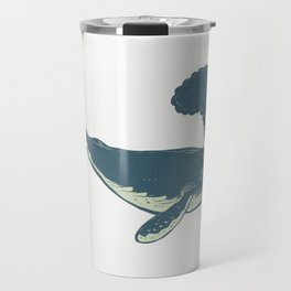 Humpback Whale Blowing Water Scratchboard Travel Mug