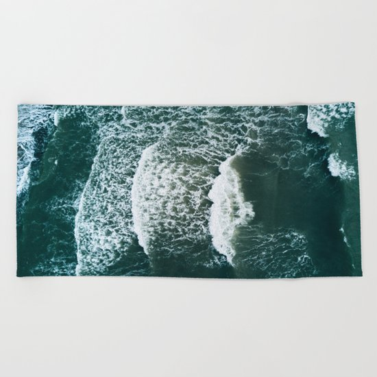 Wavy Waves on a stormy day Beach Towel