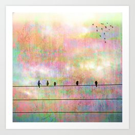 The Quickening, Abstract Sky and Birds Art Print