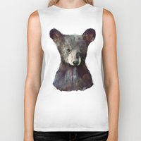 brown Biker Tanks featuring Little Bear by Amy Hamilton