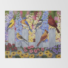 Spring Garden Party Birds and Flowers Throw Blanket