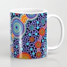 Authentic Aboriginal Art - The Journey Blue Coffee Mug
