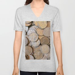 Watercolor Coins, Lincoln Wheat Pennies, 1935 04 Unisex V-Neck