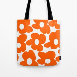 Orange Retro Flowers White Background #decor #society6 #buyart Tote Bag