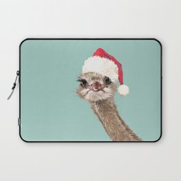 Christmas Ostrich in Green Laptop Sleeve