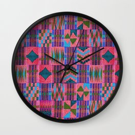 Kente Cloth // Summer Sky & Venetian Red Wall Clock