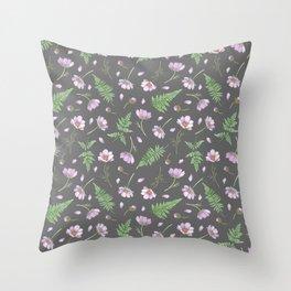Cosmos & Fern in dim gray Throw Pillow