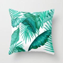 HAWAIIAN GARDEN TROPICAL LEAVES   turquoise white Throw Pillow