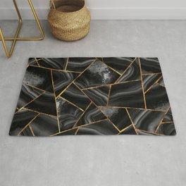 Black Night Agate Gold Geometric Glam #2 #geo #decor #art #society6 Rug