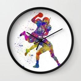 American Football players 07 in watercolor Wall Clock