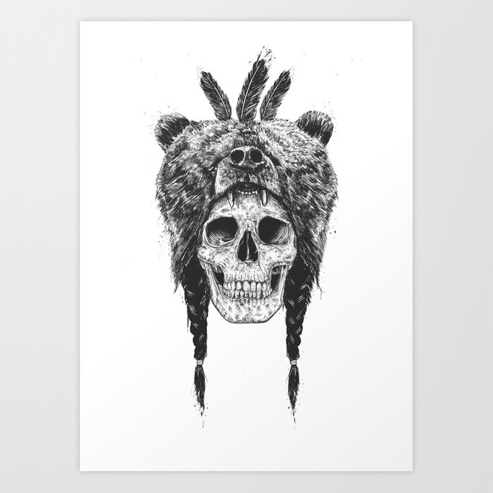 Dead shaman (b&w) Art Print