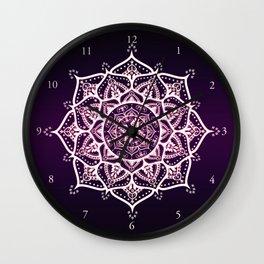 Violet Glowing Spirit Mandala Wall Clock