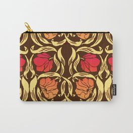 William Morris Pimpernel, Rust Orange and Brown Carry-All Pouch