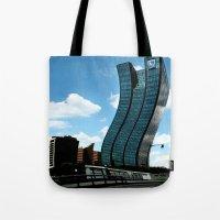 buildings Tote Bags featuring Buildings by Kathleen Stephens