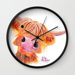Highland Cow Print, Animal Print ' NESSIE ' by Shirley MacArthur Wall Clock