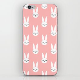 Bunny Rabbit pink and white spring cute character illustration nursery kids minimal floral crown iPhone Skin