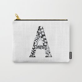 Floral Pen and Ink Letter A Carry-All Pouch