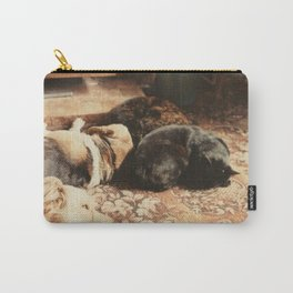 Cats and dogs sleeping on the carpet Carry-All Pouch