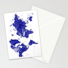 "Navy blue watercolor world map with cities, ""Ronnie"" Stationery Cards"