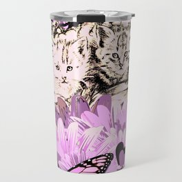 Frieda's Baby Cats in Pink Travel Mug