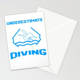 Never Underestimate A Man Who Loves Scuba Diving And Was Born In April Stationery Cards